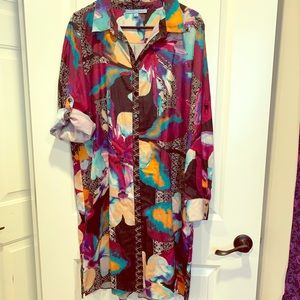 Watercolor shirt dress